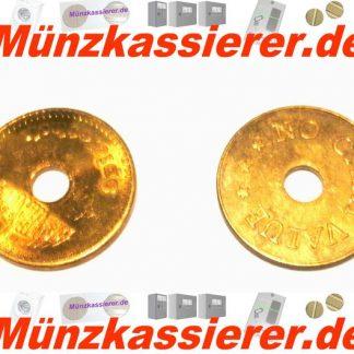 10 x Münzen Wertmarken Ø 26,8 x 1,8 Loch Ø 6mm.