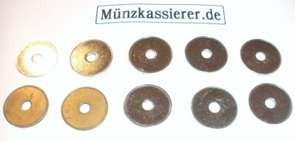 10 x Münzen Wertmarken Ø 26 x 2,3 Loch Ø 6mm. Münzkassierer
