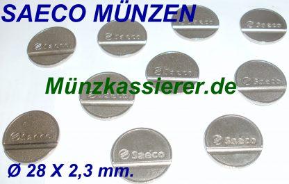 10 x Münze SAECO KAFFEEMASCHINE Wertmarken Ø 28 x 2,3mm